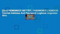 [Doc] REMEMBER BETTER: PASSWORD LOGBOOK: Internet Address And Password Logbook Organizer With