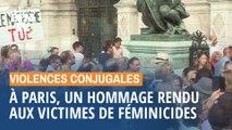 Un hommage rendu aux victimes de féminicides sur le parvis de l'Hôtel de Ville