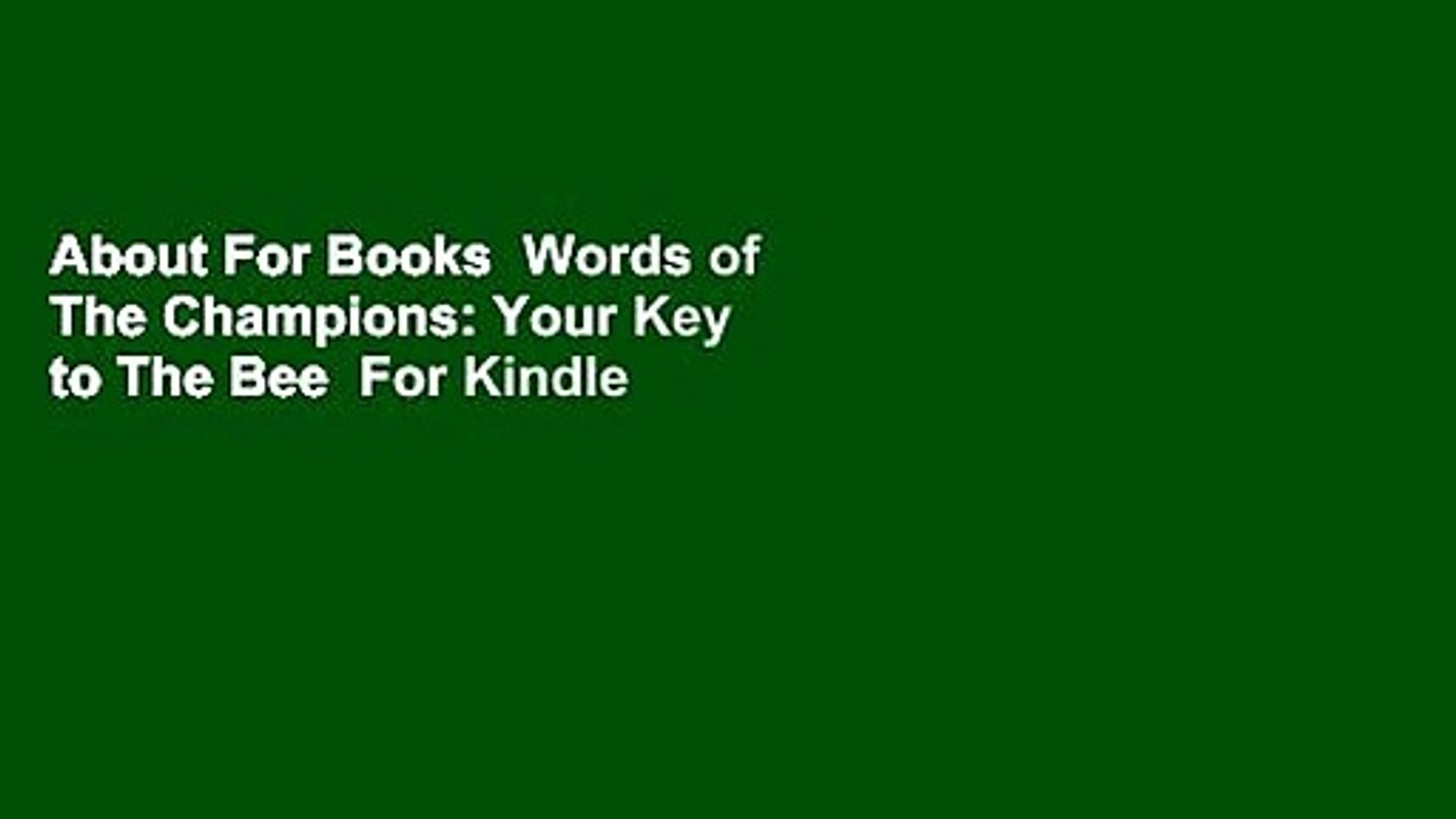 450 Word School Spelling Bee Study List 2020.About For Books Words Of The Champions Your Key To The Bee For Kindle