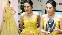 Karisma Kapoor stuns in yellow gown at launch; Watch video | Boldksy