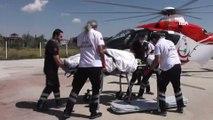 Ambulans helikopter elektrik akımına kapılan işçi için havalandı