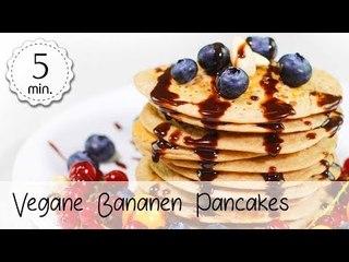 Vegane Bananen Pancakes - Bananen Pfannkuchen Rezept ohne Ei - Vegane Pfannkuchen   Vegane Rezepte