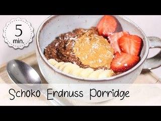 Veganes Schoko Erdnussbutter Porridge - Warmes Veganes Müsli selber machen! | Vegane Rezepte