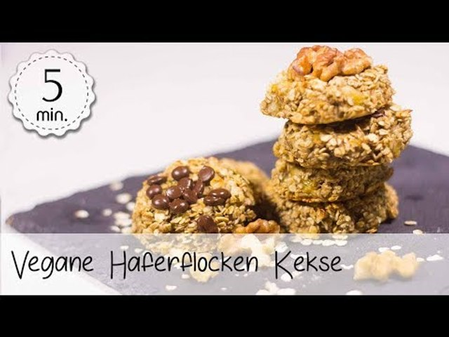 Haferflocken Keks ohne Zucker & ohne Öl - Vegane Bananen Haferflocken Kekse!   Vegane Rezepte