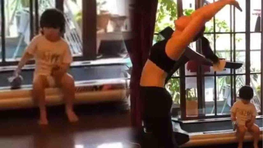 Taimur Ali Khan sits on treadmill during Kareena Kapoor Khan's yoga time;Check out | FilmiBeat