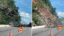 Motorist Comes Dangerously Close To Landslide