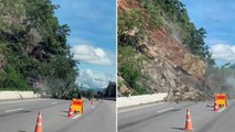 Une automobiliste évite de peu un glissement de terrain