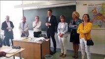 Mathieu Klein président du conseil départemental de Meurthe-et-Moselle au collège Vauban de Longwy