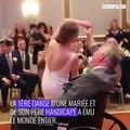 La première danse d'une jeune mariée  avec son père handicapé