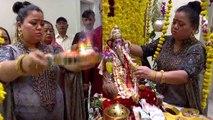 Bharti Singh celebrates Ganpati Visarjan without husband Haarsh Limbachiyaa; Watch video | FilmiBeat