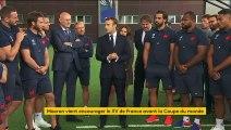"""Rugby : """"Ayez confiance en vous"""", lance Emmanuel Macron aux joueurs du XV de France"""