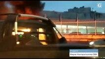 Carro pela fogo na BR 101, na Serra