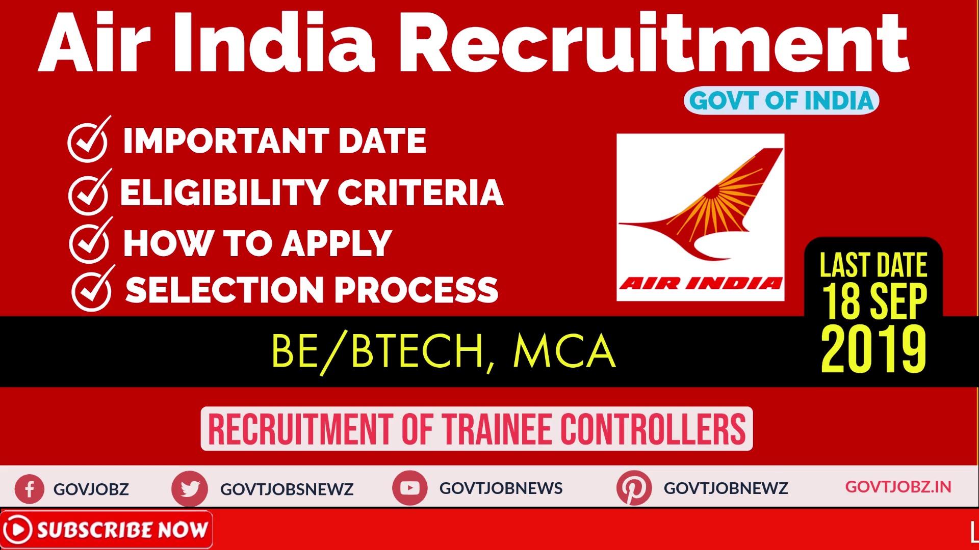 Air india trainee controller recruitment 2019   Latest Govt Jobs   BE/BTECH/MCA