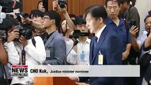 National Assembly holds confirmation hearing for justice minister nominee Cho Kuk