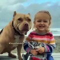 Quand une petite fille et son chien sont très complices. Admirez les !