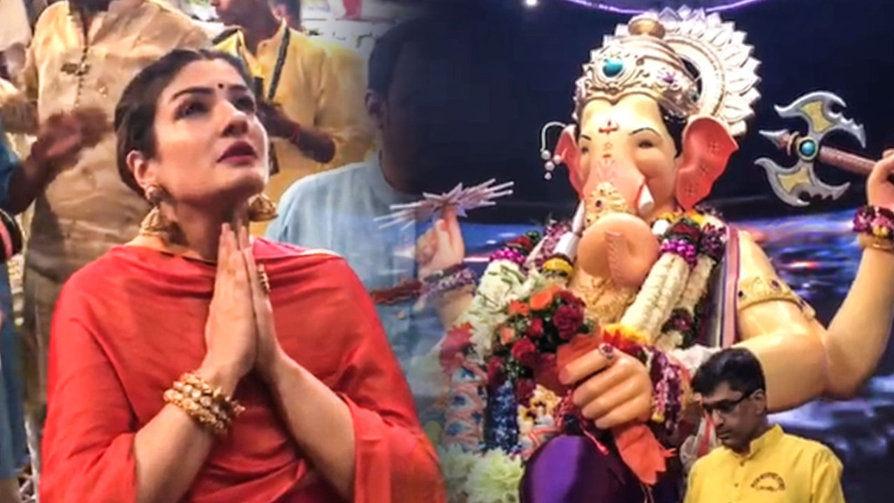 Raveena Tandon Seeks BLESSINGS With Daughter At Lal Baug Cha Raja Ganpati  2019