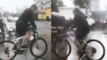 Salman Khan rides a bicycle to reach Dabangg 3 set in Mumbai rains; Watch Video   FilmiBeat