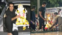 Sonu Sood Snapped As He Steps Out With His Family For Ganpati Visarjan