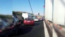 FSM Köprüsü'nde polisin havaya ateş açarak hırsızlık zanlılarını yakaladığı anlar kamerada