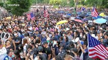 Pro-democracy protesters in Hong Kong chant 'USA! USA!' in march to US Consulate