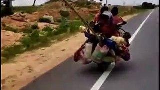 Une famille voyage à 7 avec deux chiens sur une moto !