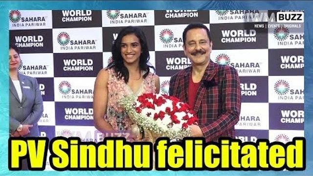 Badminton World Champion PV Sindhu felicitated by Saharasri Subrata Roy