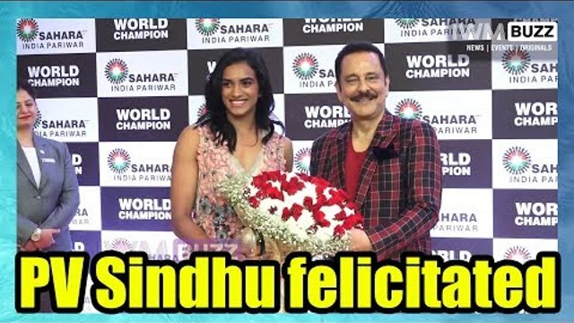 Badminton World Champion PV Sindhu felicitated by Saharasri Subrata Roy