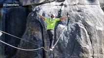 Talented slackliner completes walk over 1000-metre fall in US without safety ropes