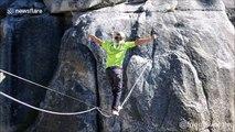 En équilibre à 1000m du sol sans sécurité sur la corde ! Slackline