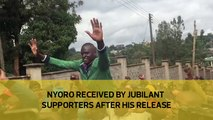 Nyoro received by jubilant supporters after his release