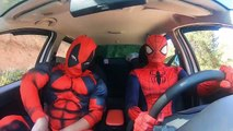 Superheroes Surprise spiderman With Dancing Car Ride!