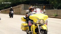 Hundreds of motorbikes drive around New York City in 9/11 tribute