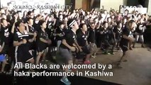 Japanese young rugby fans perform haka to greet All Blacks