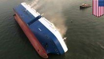 Trapped crew members rescued from capsized cargo ship