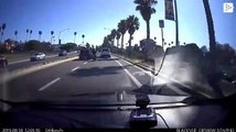 Instant karma hits a motorcyclist who kicked a car's mirror