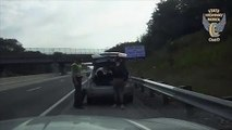 Watch  U-Haul Truck Nearly Strikes Trooper Who Was Changing Tire On Disabled Vehicle