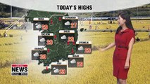 Southern regions to see rain, sunny on Chuseok 091119