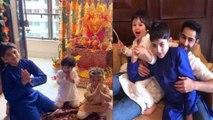 Taimur Ali Khan chants Mangal Murti Morya with Kareena Kapoor Khan; Watch video | FilmiBeat