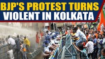 BJP workers protest in kolkata, police use water cannons to disperse them | Oneindia News
