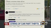 String of car part thefts in Phoenix
