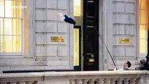 Bizarre moment Boris Johnson doll is flown in front of Cabinet Office in London