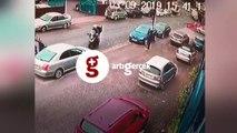 Motosiklet sürücüsü 3 hırsıza böyle karşı koydu