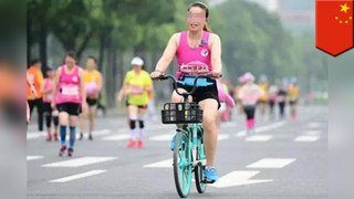 Two Chinese women caught riding bikes in Chengdu half-marathon