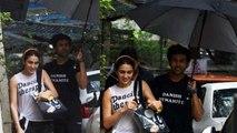 Sara Ali Khan को बारिश से बचाने छाता लेकर पहुंचे Kartik Aaryan | FilmiBeat