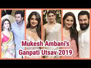 Ambani's Ganpati Utsav 2019: दर्शन को लगा सितारों का मेला | Ranbir, Alia, Aamir, Amitabh, Katrina