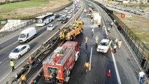 TEM otoyolundaki tanker kazası havdan görüntülendi