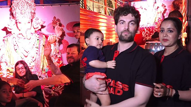 Neil Nitin Mukesh gives emotional good bye to Ganpati Bappa with family; Watch video | FilmiBeat