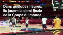 Mondial de basket: entraînement de la France avant la demi-finale