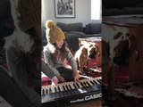 Boxer Puppy Sings Along With Girl Playing Keyboard