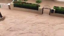 Les rues de la ville de Los Alcazares au sud-est de l'Espagne totalement inondées après de forts orages
